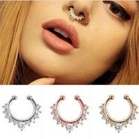Wish   1Pc Fashion Fake Septum Clicker Nose Ring Non Piercing Hanger Clip On Jewelry