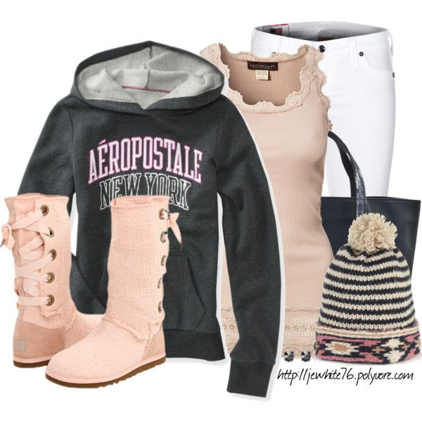 """Sweatshirt With Beanie and UGGs"" by jewhite76 on Polyvore"