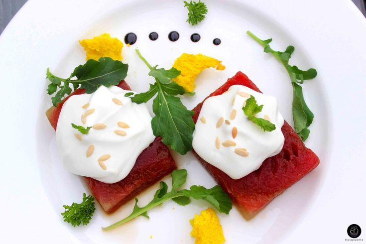 Watermelon Salad with Feta Mousse, Pumpkin Seeds and Watercress