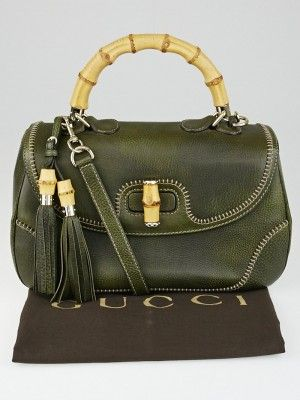 Don't miss your opportunity to own this adorable Gucci Olive Green Pebbled…