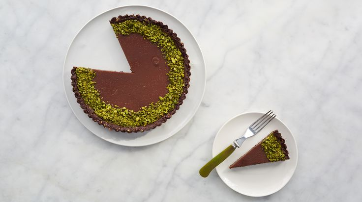 ... milk-chocolate pistachio tart in this clip from Martha Bakes on PBS