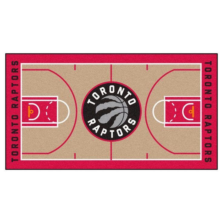 NBA Toronto Raptors Tan 2 ft. 6 in. x 4 ft. 6 in. Indoor Basketball Court Runner, Team Colors