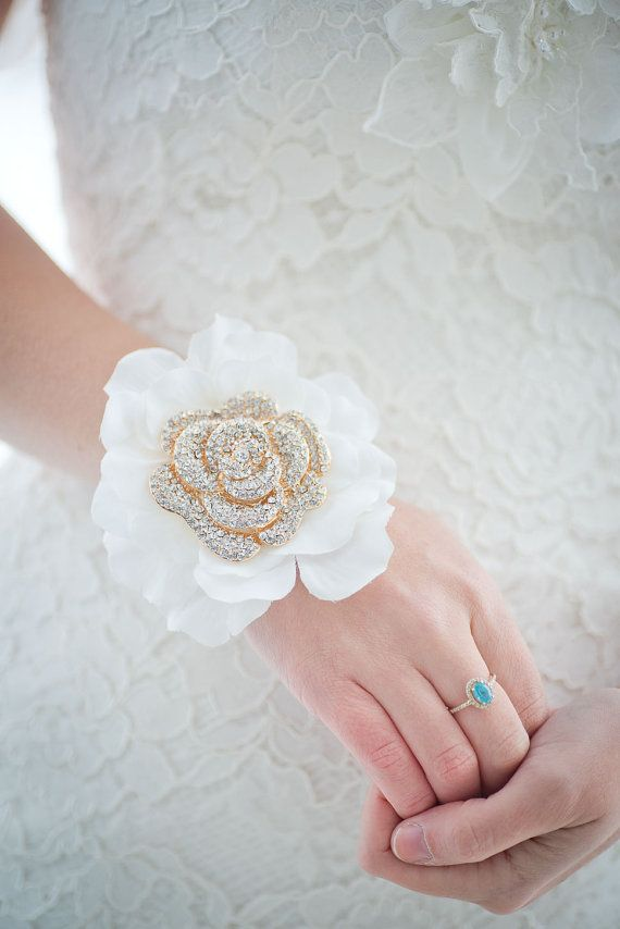 Custom Mother of the bride  Corsage Rose Gold Brooch by Mlleartsy