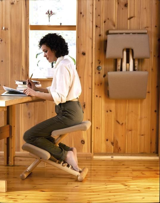 """A #KneelingOfficeChair promotes constant natural movement, keeping the back and abdominal muscles active at all times. While sitting, the user is actually strengthening the core muscles of the abdomen and back while preventing tension in the neck and shoulders.  This """"active sitting"""" improves circulation and oxygen levels, boosting energy, concentration, and overall well-being."""