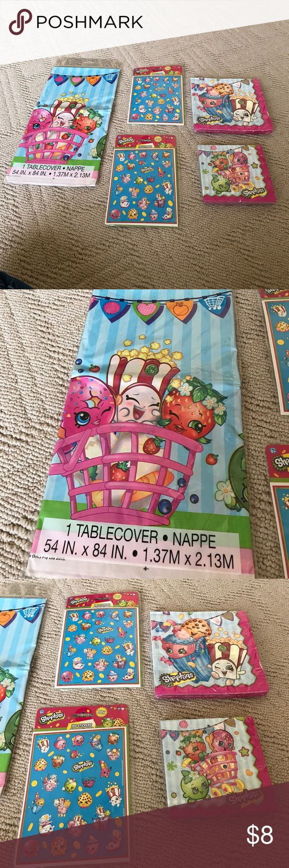 NWT Shopkin bday bundle tablecloth napkins sticker These are new shop kin birthday items not used at our party we have one table cover to 100 pack sticker sets one large napkins set that is 16 count and one small napkins that that is 16 count also altogether new in package perfect for your shopkin party shopkin Accessories