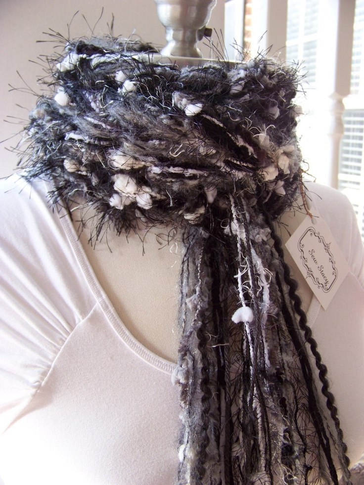 Crochet Scarf The Pippy Evening Scarf Handmade by Sewstacy Skinny Scarf Knitted Necklace Scarf. $20.00, via Etsy.