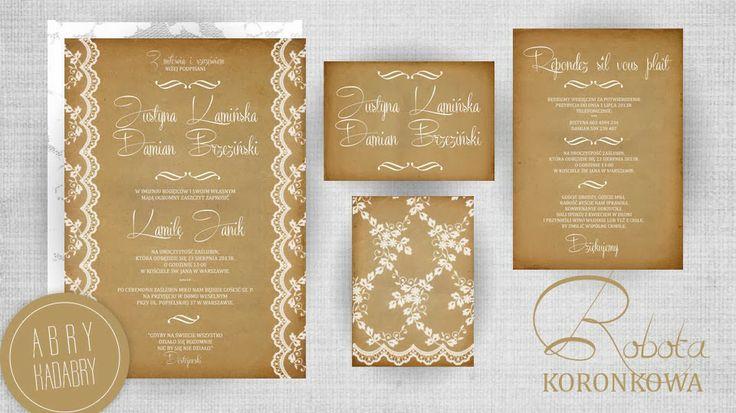 Zaproszenie Ślubne - Koronkowa robota ♥ Wedding Invitation - Naturally precious