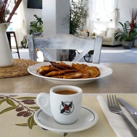 The best way to start your day. Greek coffee and tiganites.  Goodmorning www.altheakarpathos.com