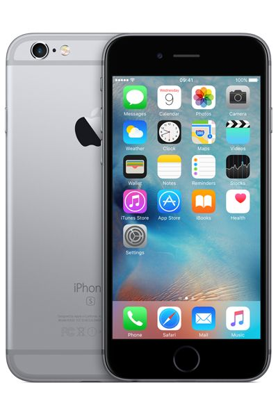 The front and back of the Apple iPhone 6S in space grey colour scheme. Compare the cheapest prices at PhonesLTD.co.uk
