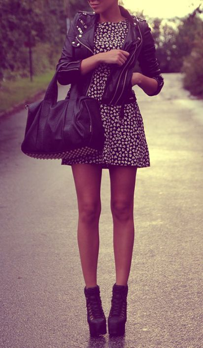 Fashion, Polka Dots, Style, Outfit, Legs, Shorts Dresses, Leather Jackets, Jackets Dresses, The Dresses