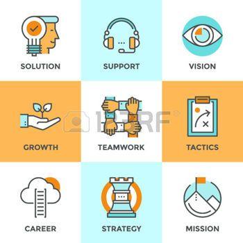pictogramme: icônes de ligne de conduite avec des éléments plats de conception de la réussite des affaires métaphore, vision marketing, le support client, solution d'idée, échelle de carrière, la croissance de démarrage. Moderne logo vectoriel collection pictogramme concept.