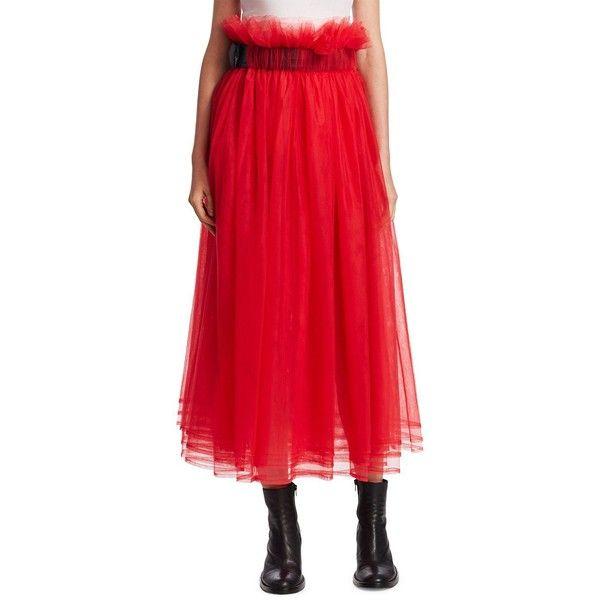 noir kei ninomiya Gathered Tulle Skirt ($408) ❤ liked on Polyvore featuring skirts, belted skirt, shirred skirt, long tulle skirt, long red skirt and red tulle skirt