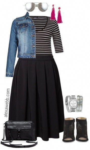 Plus Size Schwarzer Midirock Outfit – Plus Size Spring Outfits – Plus Size Mode für Damen – alexawebb.de