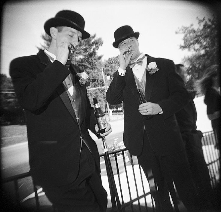 Groomsmen, bowler hats, and cigars.  LOVE this.