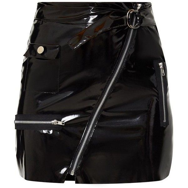 Black Vinyl Biker Mini Skirt (35 CAD) ❤ liked on Polyvore featuring skirts, mini skirts, bottoms, faldas, vinyl mini skirt, vinyl skirt, short skirt, short mini skirts and bike skirt
