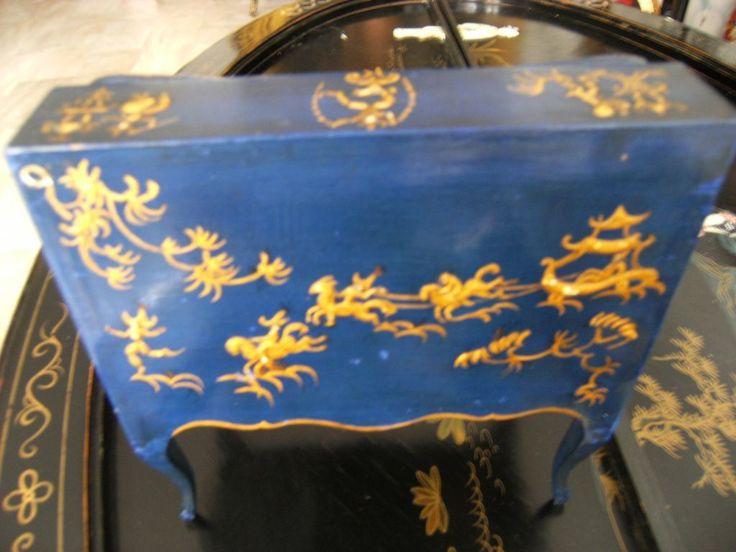 Very rare chique, gorgeous extreme beautiful BLUE laquer Chinoiserie from treasuresfromparis on Ruby Lane
