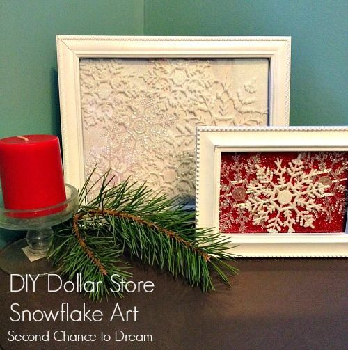 Dollar Store Snowflake Decor With 2 frames and 2 packages of snowflakes and 2 sheets of glitter scrapbooking paper you can make these festiv...