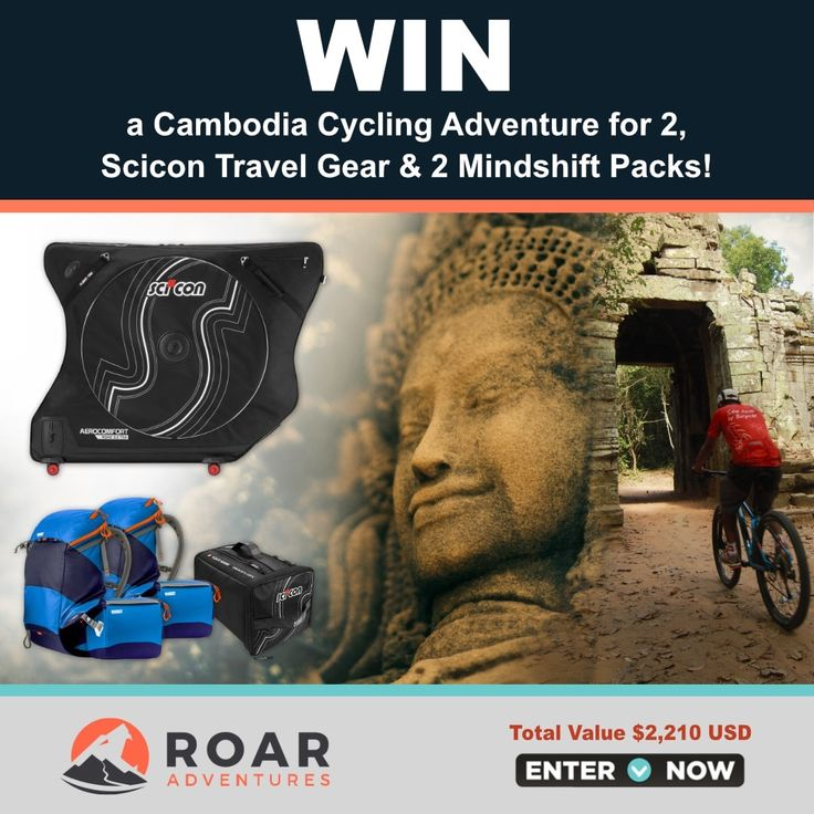 WIN a Cambodia Cycling Adventure for 2, Scicon Travel Gear, & 2 Mindshift Packs in the Roar Adventures' Launch Contest! Over US$2,200 value!   ENTER NOW: http://roa.rs/2o3Dzhd.   _ #roaradventures #bicycle #adventure #tours #contest #sweepstakes