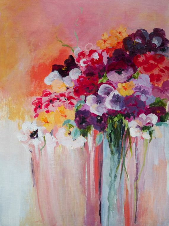 Original Acrylic Painting Abstract Flowers by NikiArdenFineArt, $185.00