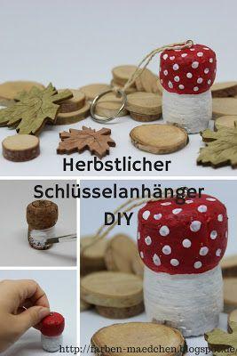 herbstlicher Pilz-Schlüsselanhänger (DIY)  - by farbenmaedchen
