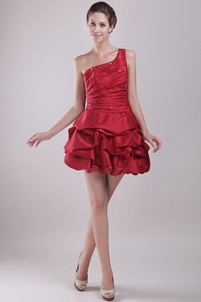 Taffeta Elegant One-shoulder Party Dress wr1308 - http://www.weddingrobe.co.uk/taffeta-elegant-one-shoulder-party-dress-wr1308.html - NECKLINE: One-shoulder. FABRIC: Taffeta. SLEEVE: Sleeveless. COLOR: Red. SILHOUETTE: A-Line. - 149.59