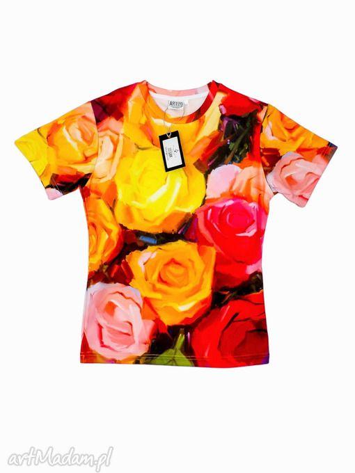 Artystyczny T-shirt damski - Malowane róże Jakość PREMIUM!. $34