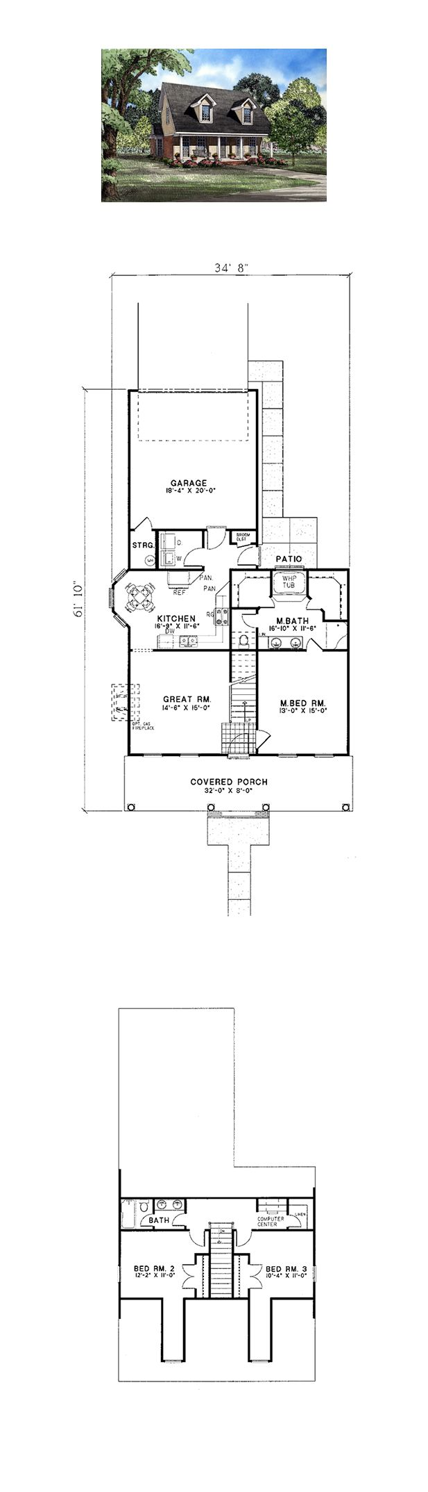Cape cod country house plan 82030 pinterest house for Cape cod house plans with basement