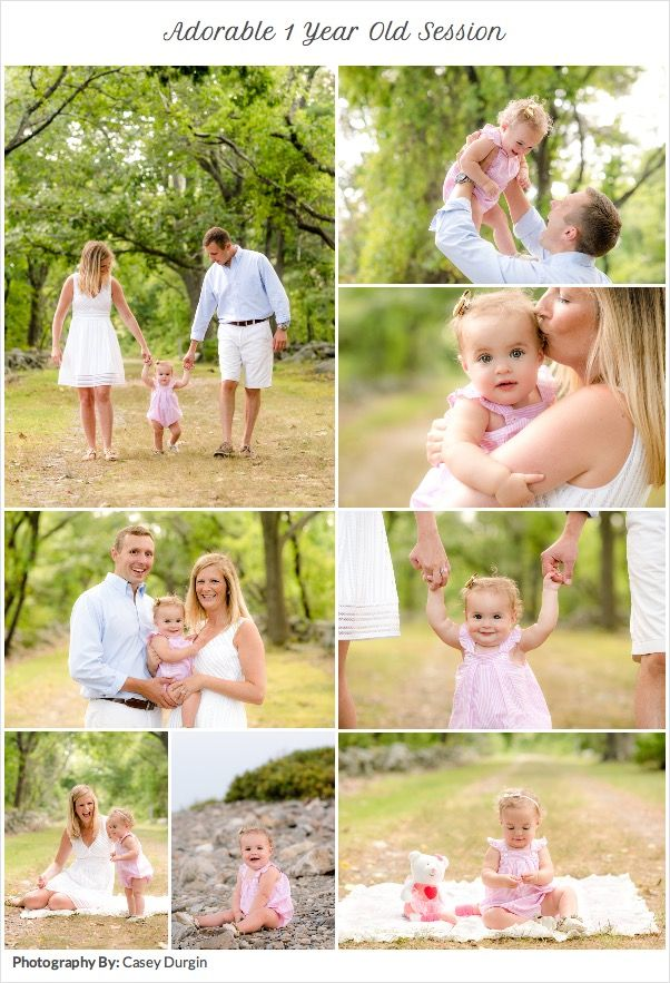 Adorable 1 year old session with Mom & Dad.  Little Regan is so cute in her pink and white seersucker dress and gold shoes. Natural & Fun family portrait session.