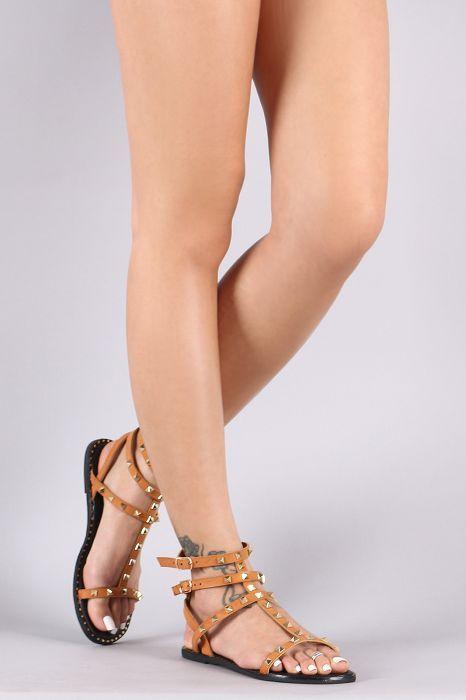 faa9adc7c8bd Qupid Studded Strappy Gladiator Flat Sandal
