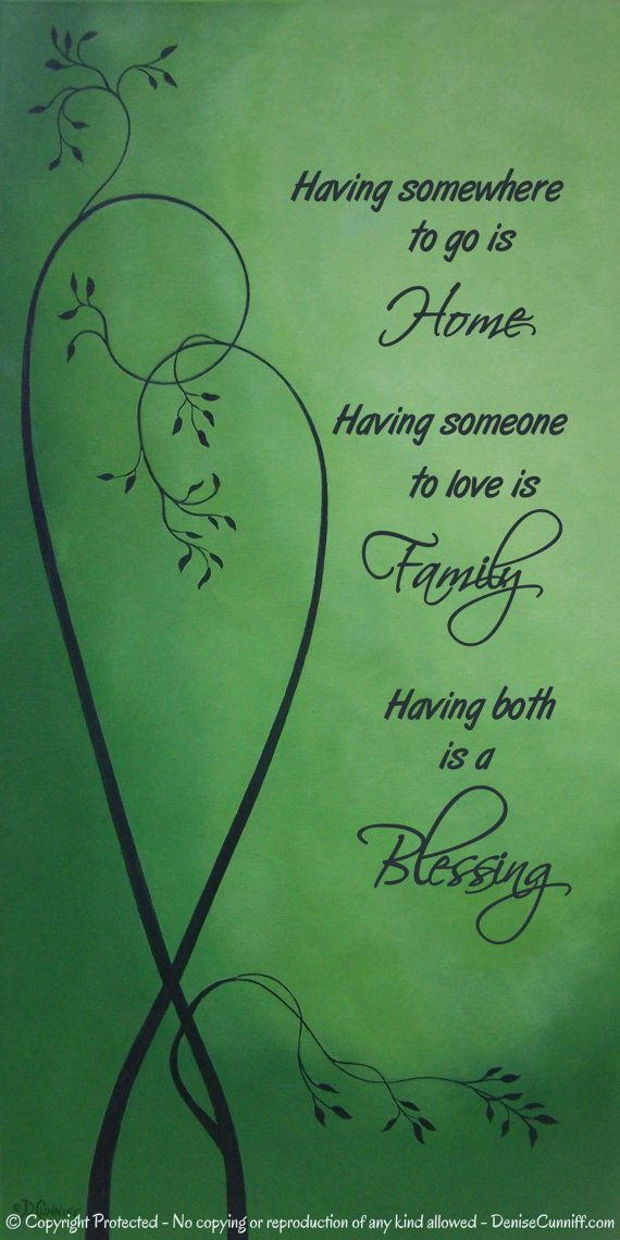 Large wall quote: having somewhere to go is home, having someone to love is family, having both is a blessing. Contemporary fine art print in emerald, moss & olive green for romantic master bedroom art or master bath wall art. Original art by Denise Cunniff - ArtFromDenise.com COPYRIGHT PROTECTED