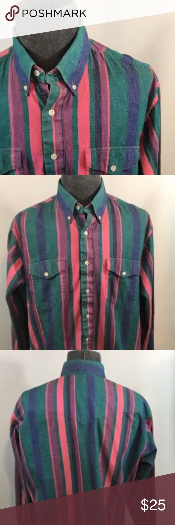 Wrangler Cowboy Regular Fit 18-35 Striped Shirt Features Cowboy Cut  Sz. 18-35 100% Cotton Multi-Color Measurements: Pit to Pit: 25.5 inches Length: 34 inches  Sleeves:  25.5 Shoulders: 22.5 Wrangler Shirts Casual Button Down Shirts