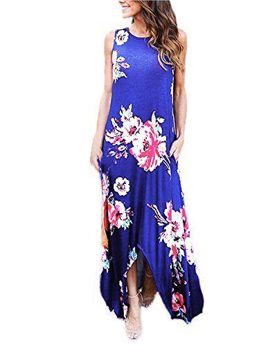 9af6580f9d4d1 Women Summer Boho Floral Maxi Hawaiian Sleeveless Long Swing Party Casual  Dress