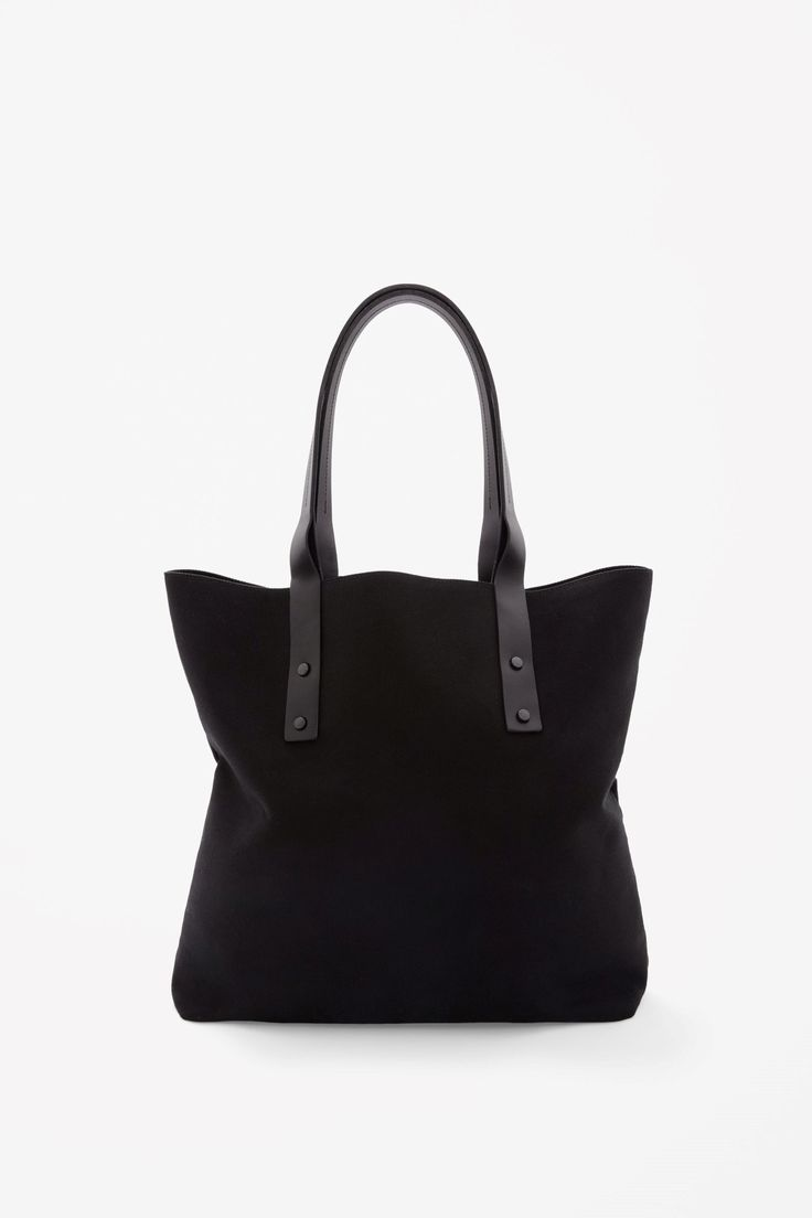 COS image 1 of Leather strap canvas tote bag in Black
