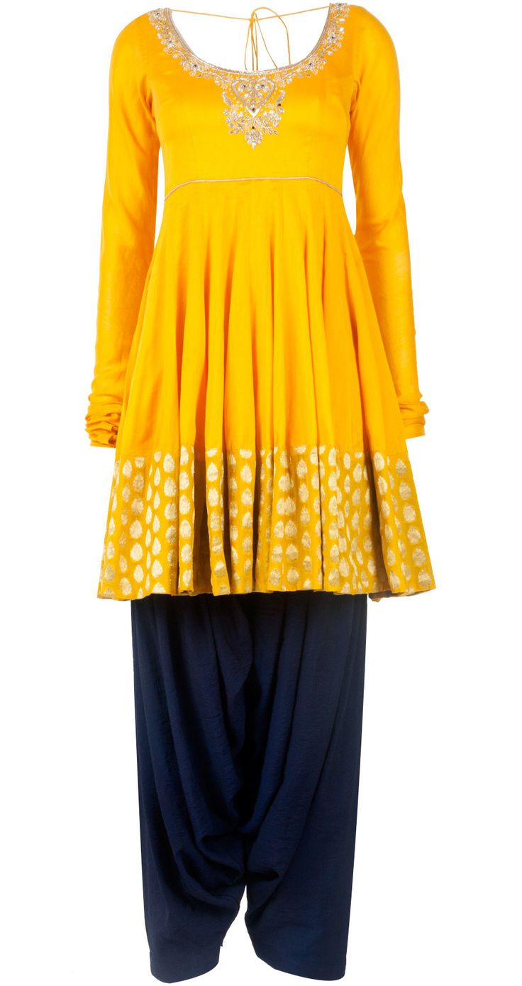 Yellow and blue embroidered kurta set by PAYAL SINGHAL. Shop at http://www.perniaspopupshop.com/whats-new/payal-singhal-yellow-and-blue-embroidered-kurta-set-pylc0813per09.html