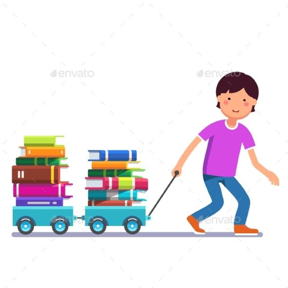 Kid Pulling Wagon Cart with Pile of Book