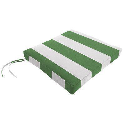 "Wayfair Custom Outdoor Cushions Knife Edge Outdoor Sunbrella Square Dining Cushion with Ties Fabric: Cabana Emerald, Depth: 18"", Width: 18"""