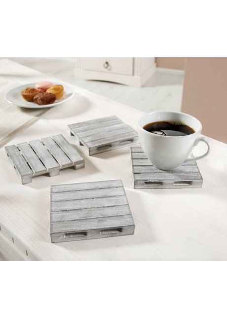 Onderzetters «Pallet» (4-dlg. set), bpc living, wit/grijs gewassen