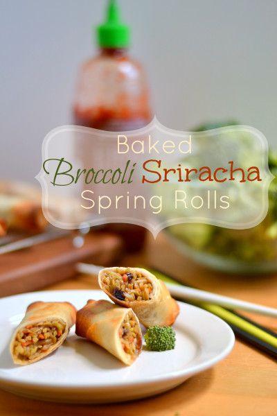 Crispy Baked Broccoli Sriracha Spring Rolls - Food Doodles