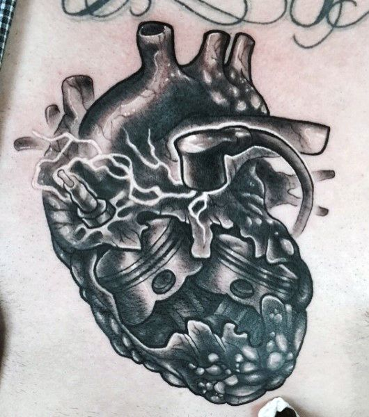 Heart Gas Engine Piston Male Tattoo Designs