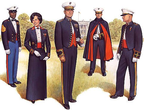 U.S. Marines in Mess Dress from left to right: Staff Non-Commissioned Officer, Female Field Grade (Major thru Colonel) Officer, General Officer, Field Grade Officer in Boatcloak, Junior Officer(Captain and below)