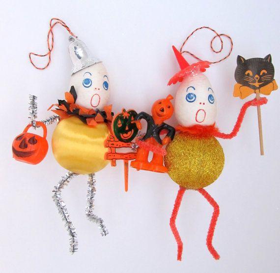 off sale halloween decoration vintage spun cotton ornaments set of 2 - Vintage Halloween Decorations For Sale