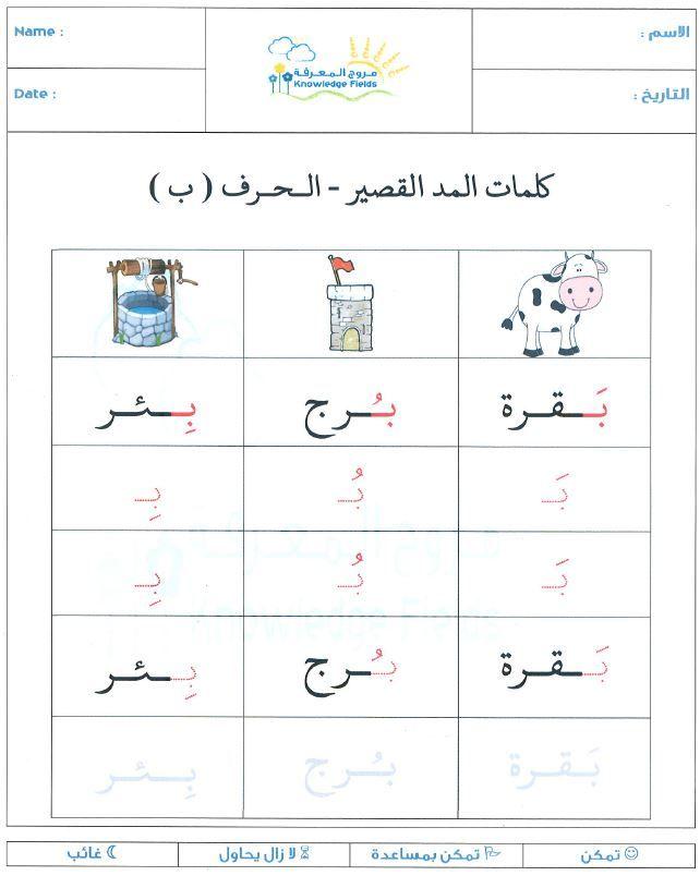 حرف الباء المد القصير Learn Arabic Alphabet Learn Arabic Language Arabic Alphabet