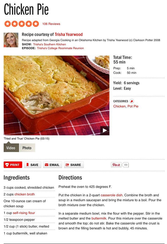 Trisha Yearwood's Chicken Pie