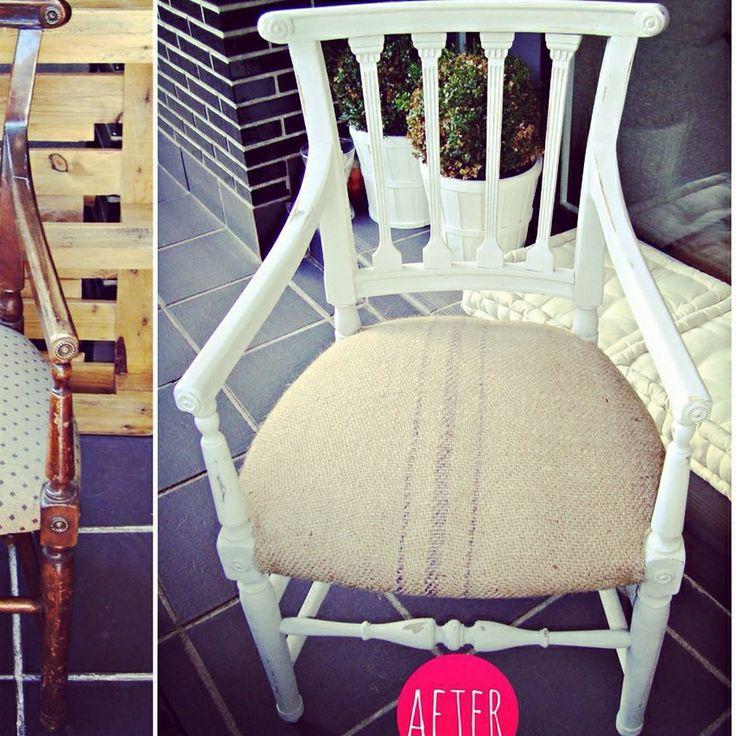 Venta de sillón gris claro y asiento de saco. Precioso! #vintage #shabbychic #vintageforniture #earlygrey #chalkpaint #anniesloan #decoracionvintage #sillón