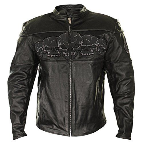 Xelement BXU6050 Mens Black Armored Leather Motorcycle Jacket with Skull Embroi  2X-Large For Sale https://motorcyclejacketsusa.info/xelement-bxu6050-mens-black-armored-leather-motorcycle-jacket-with-skull-embroi-2x-large-for-sale/