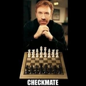 Checkmate. is listed (or ranked) 10 on the list The 50 Funniest Chuck Norris Jokes of All Time
