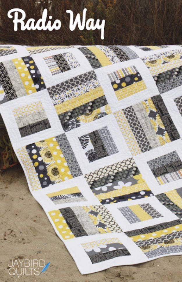 Best Quilts to Make This Weekend - Radio Way Quilt - Free Quilt Patterns and Quilting Tutorials - Quilting for Beginners and Sewing Ideas - DIY Baby Quilts, Printables, New and Easy Modern Quilts, Jelly Roll, Quilt Squares, Fat Quarters and Scrap Ideas http://diyjoy.com/free-quilt-patterns-tutorials