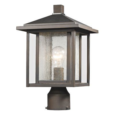 Bloomsbury Market Hungate Outdoor 1-Light Lantern Head Finish: Oil Rubbed Bronze, Size: 14.75″ H x 9″ W x 9″ D