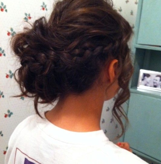 Braided slightly messy updo! Long curly (or curled) hair. 23 Prom Hairstyles Ideas for Long Hair | PoPular Haircuts wedding formal dance date night