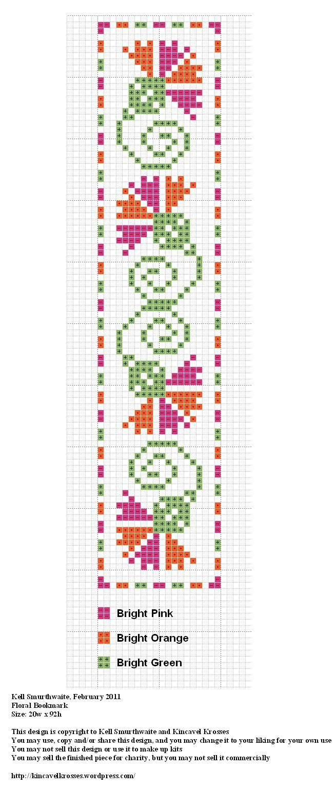 Design: Floral Bookmark Size: 20w x 92h Designer: Kell Smurthwaite, Kincavel Krosses Permissions: This design is copyright to Kell Smurthwaite and Kincavel Krosses You may use, copy and/or share th...